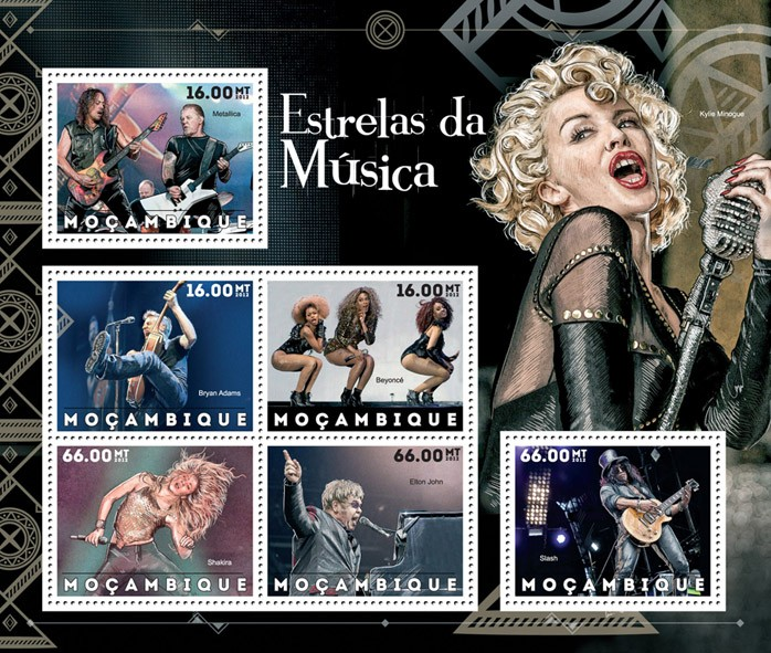 Music Stars - Issue of Mozambique postage Stamps