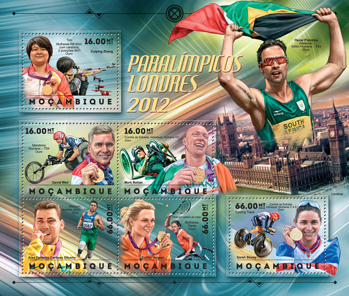 London 2012 Paralympics - Issue of Mozambique postage Stamps