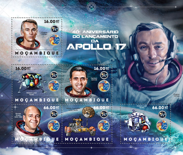 Apollo 17 - Issue of Mozambique postage Stamps
