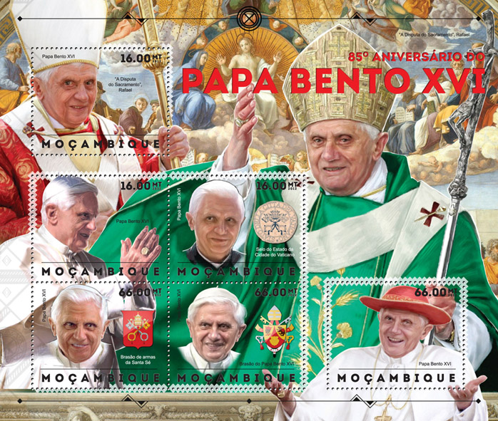 Pope Benedict XVI - Issue of Mozambique postage Stamps