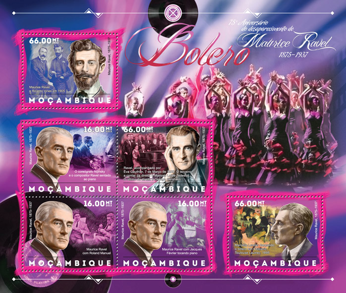 Maurice Ravel - Issue of Mozambique postage Stamps