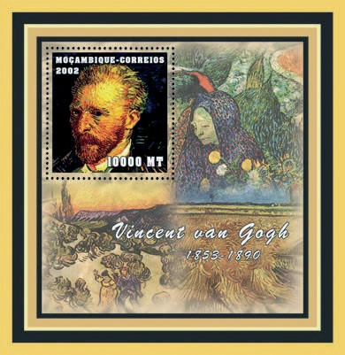 Vincent Van Gogh 10000 MT - Issue of Mozambique postage Stamps