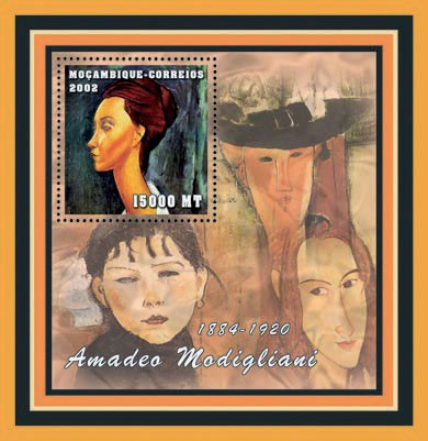 Amadeo Modigliani 15000  MT - Issue of Mozambique postage Stamps