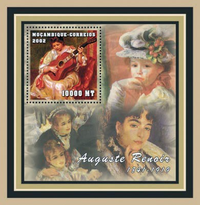 Auguste Renoir 10000  MT - Issue of Mozambique postage Stamps