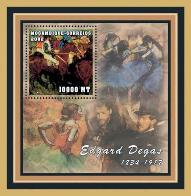 Edgar Degas  10000  MT - Issue of Mozambique postage Stamps