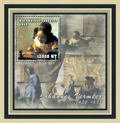 Johannes Vermeer 12000  MT - Issue of Mozambique postage Stamps