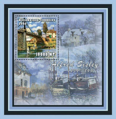 Alfred Sisley   10000 MT  S/S - Issue of Mozambique postage Stamps