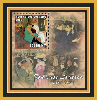 Toulouse Lautrec  10000  MT - Issue of Mozambique postage Stamps