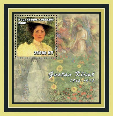 Gustav Klimt  28000 MT  S/S - Issue of Mozambique postage Stamps