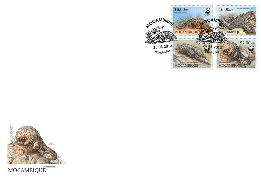 WWF - Pangolin (Smutsia temmincki) Set of 4 values - FDC - Issue of Mozambique postage Stamps