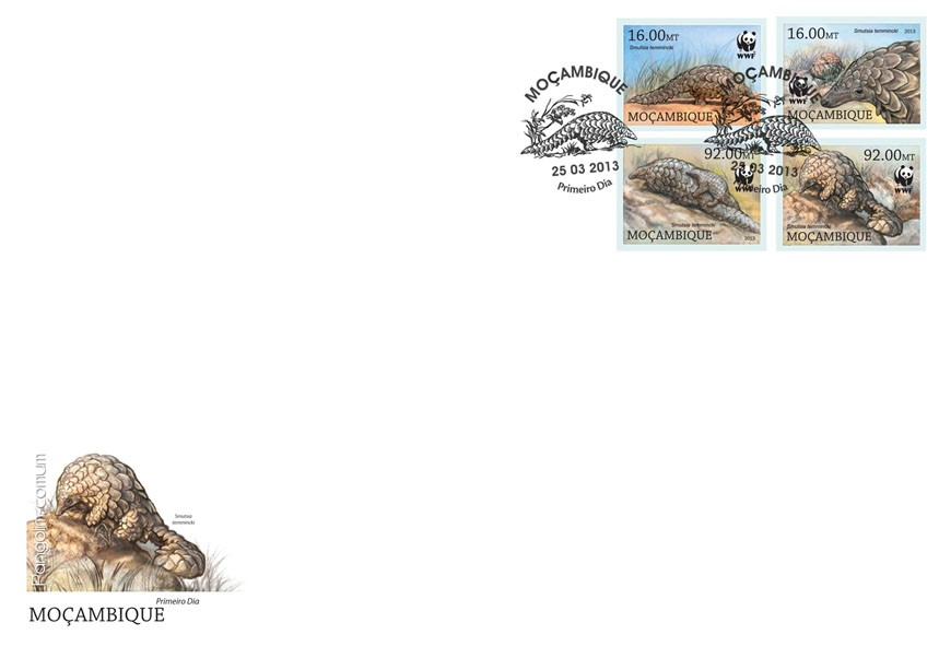 WWF - Pangolin (Smutsia temmincki) Set of 4 value - FDC Imperforated - Issue of Mozambique postage Stamps