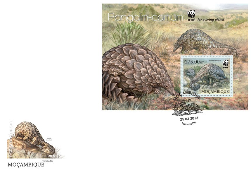 WWF - Pangolin (Smutsia temmincki) Souvenir sheet - FDC - Issue of Mozambique postage Stamps