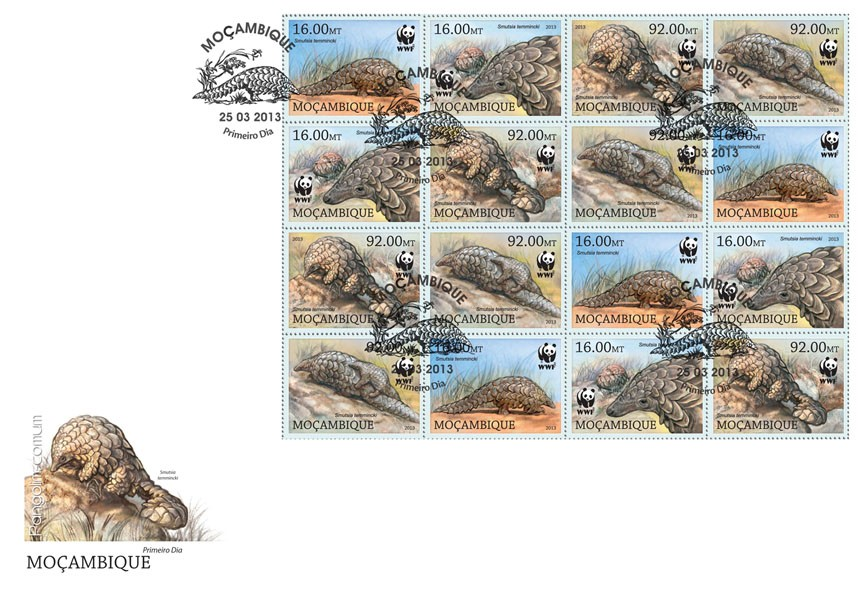 WWF - Pangolin - 4 sets - FDC - Issue of Mozambique postage Stamps