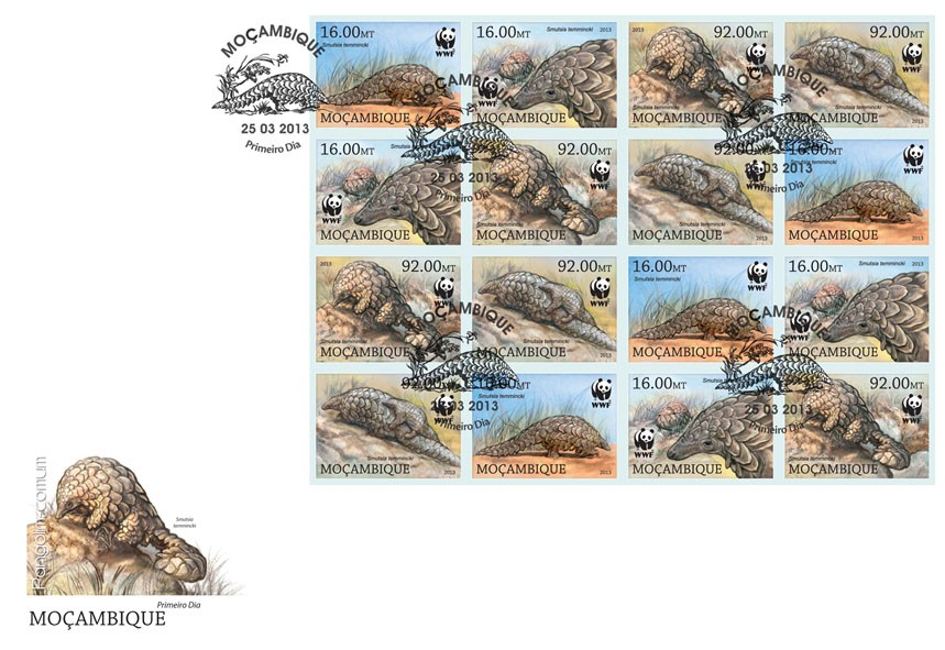 WWF - Pangolin (Smutsia temmincki) Sheet of 4 sets - FDC Imperforated - Issue of Mozambique postage Stamps