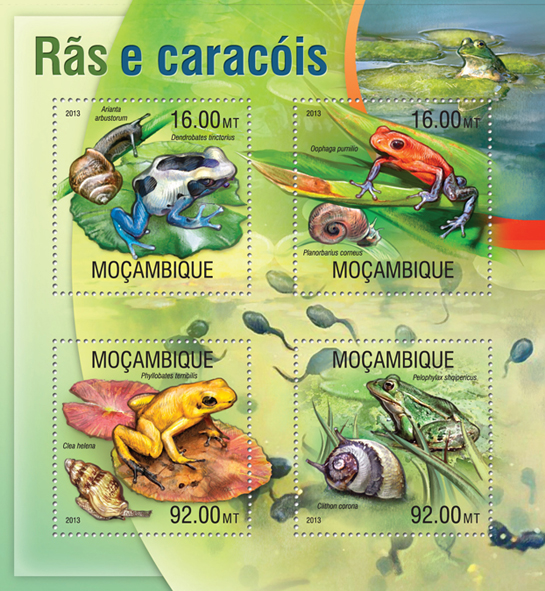 Frogs and Snails - Issue of Mozambique postage Stamps