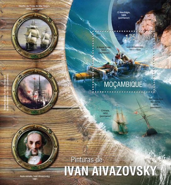 Ivan Aivazovsky - Issue of Mozambique postage Stamps