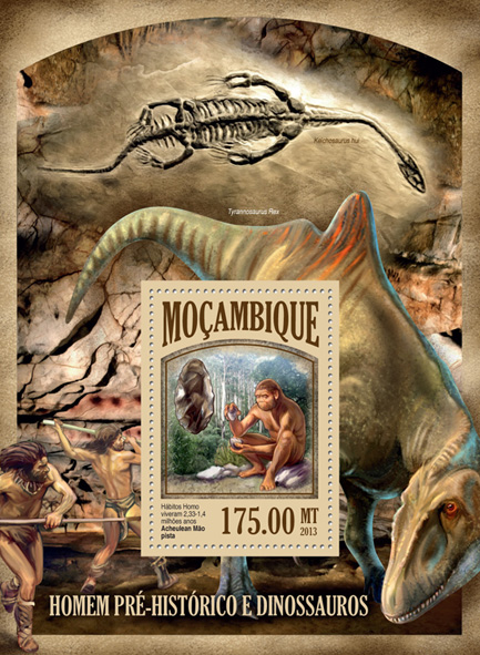 Prehistoric Man and Dinosaurs - Issue of Mozambique postage Stamps