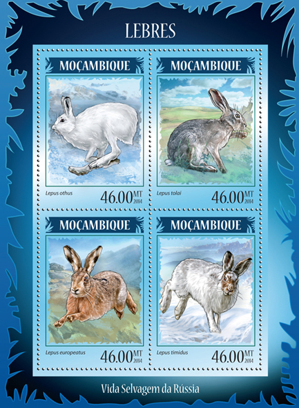 Hares - Issue of Mozambique postage Stamps