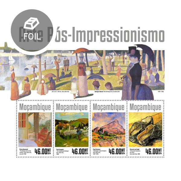Post-impressionism art - Issue of Mozambique postage Stamps