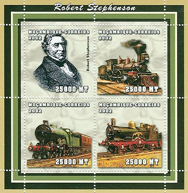 Trains (Robert Stephenson)   4 x 25000  MT - Issue of Mozambique postage Stamps