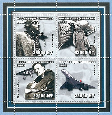 Airmen(St Exupery, Ch. Lindberg, Concorde) 4 x 22000MT - Issue of Mozambique postage Stamps
