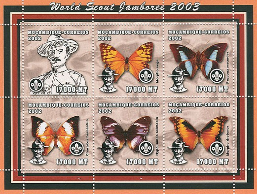 World Scout Jamboree 2003-Baden Powell   Butterflies   6 x 17000  MT - Issue of Mozambique postage Stamps