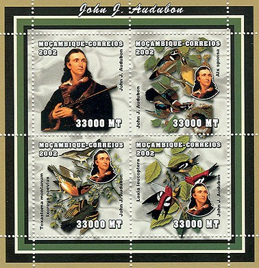 Birds (J.J.Audubon)   4 x 33000  MT - Issue of Mozambique postage Stamps
