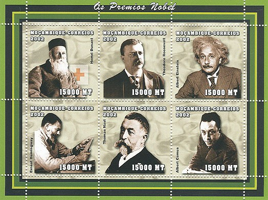 Nobel prize (H.Dunant, T.Roosevelt, A.Einstein, E.Hemingway, T.Nast, A.Camus)  6 x 15000 MT - Issue of Mozambique postage Stamps