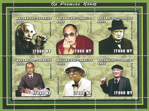 Nobel prize (A.Einstein, Dalai Lamas, W.Churchill, H.Yukawa, A.Schweitzer, L.Pauling)  6 x 17000MT - Issue of Mozambique postage Stamps
