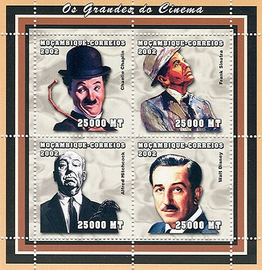 Movies (C.Chaplin, F.Sinatra, A.Hitchkock, W.Disney)  4 x 25000  MT - Issue of Mozambique postage Stamps