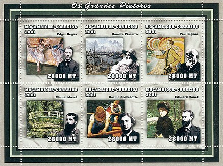 Impressionists (E.Degas, C.Pissarro, P.Signac, C.Monet, B.Caillebotte, E.Manet)  6 x 28000  MT - Issue of Mozambique postage Stamps
