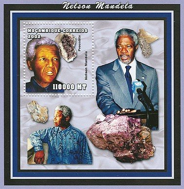 Minerals (N.Mandela)  110000 MT  S/S - Issue of Mozambique postage Stamps