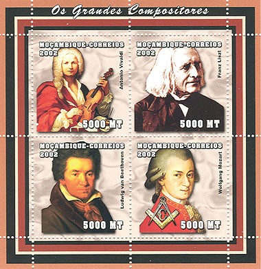 Composers (Vivaldi, Liszt, Beethoven, Mozart) 4 x 5000  MT - Issue of Mozambique postage Stamps