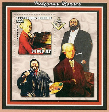 W.Mozart ( Pavarotti)   88000 MT  S/S - Issue of Mozambique postage Stamps