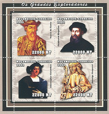 Explorers (De Gama, Magellan, C.Colomb, A.Vespucci)  4 x 22000  MT - Issue of Mozambique postage Stamps
