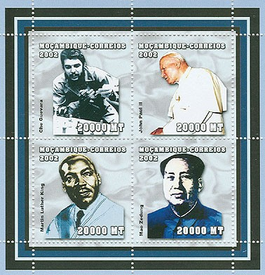 Celebrities (C.Guevara, J.Paul II, M.L.King, Mao) 4 x 20000  MT - Issue of Mozambique postage Stamps