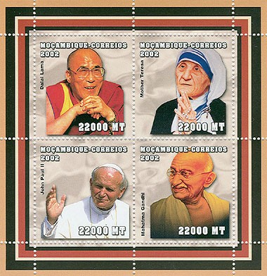 Celebrities (D.Lama, M.Teresa, J.Paul II, M.Ganghi)  4 x 22000  MT - Issue of Mozambique postage Stamps