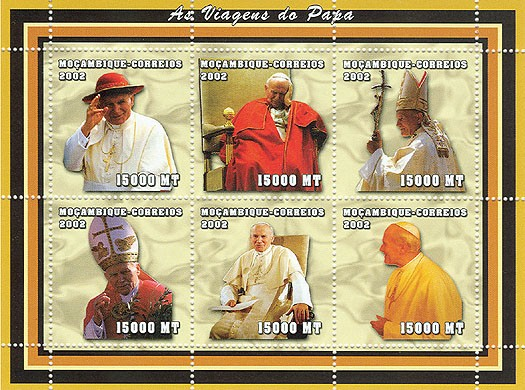 Pope John Paul II - The Travelers   6 x 15000  MT - Issue of Mozambique postage Stamps