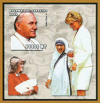 Pope (M.Teresa, Lady Diana)  88000 MT  S/S - Issue of Mozambique postage Stamps