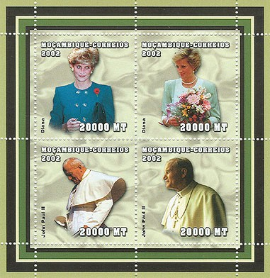Lady Diana - Pope   4 x 20000  MT - Issue of Mozambique postage Stamps
