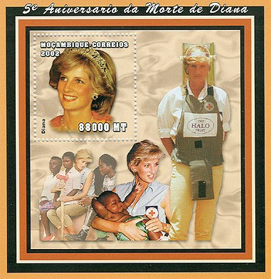 Lady Diana (red cross)  88000 MT  S/S - Issue of Mozambique postage Stamps