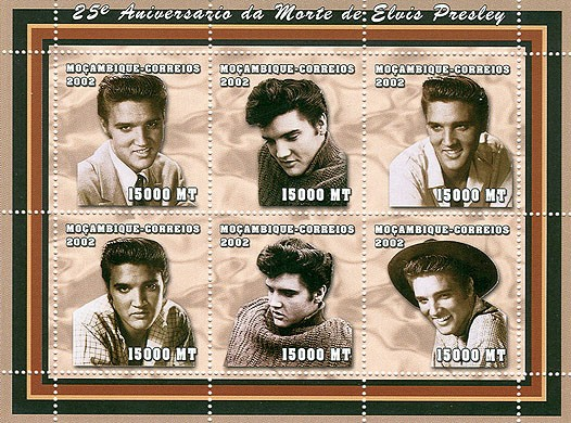Elvis Presley   6 x 15000  MT - Issue of Mozambique postage Stamps
