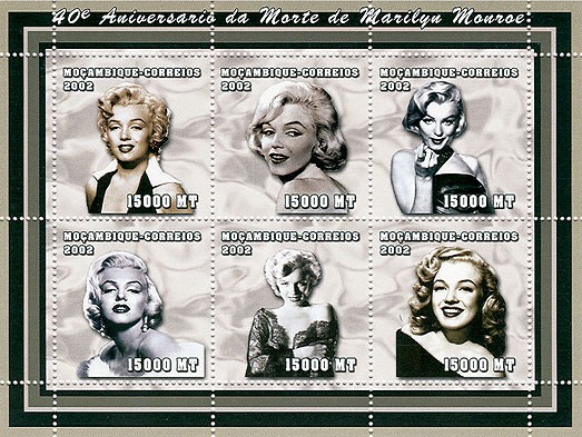 Marilyn Monroe  6 x 15000  MT - Issue of Mozambique postage Stamps