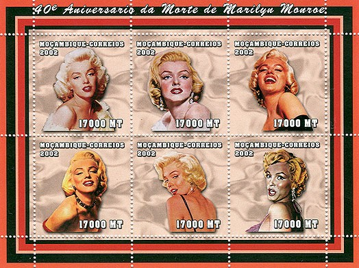 Marilyn Monroe  6 x 17000  MT - Issue of Mozambique postage Stamps