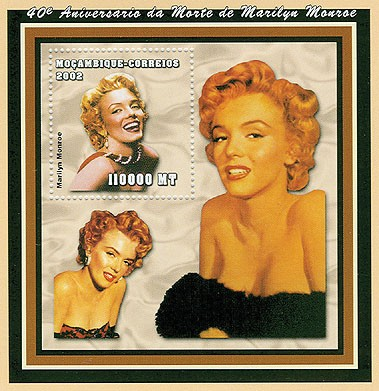 Marilyn Monroe  110000 MT  S/S - Issue of Mozambique postage Stamps