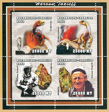 The scientifics - Haroun Tazieff (Dinosaurs, Mineral)   4 x 25000  MT - Issue of Mozambique postage Stamps