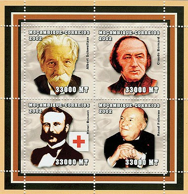 The scientifics - Doctors (A.Schweitzer, C.Bernard, H.Dunant, R.Folereau-red cross)  4 x 33000  MT - Issue of Mozambique postage Stamps