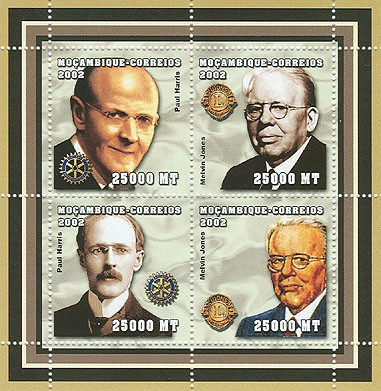 Lions Club / Rotary - Paul Harris - Melvin Jones 4 x 25000  MT - Issue of Mozambique postage Stamps