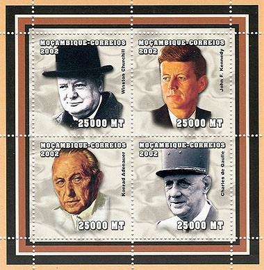 The Politics (W.Churchill, J.F.Kennedy, K.Adenauer, C.De Gaulle)   4 x 25000  MT - Issue of Mozambique postage Stamps