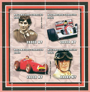 Formula I (A.Senna, J.M.Fangio)   4 x 20000  MT - Issue of Mozambique postage Stamps
